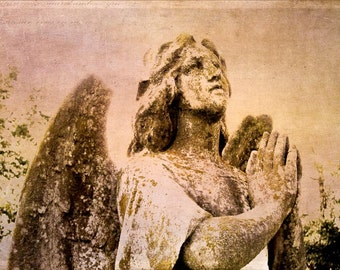 Angel Prayers - Stone Angel Photography - Green Brown Rose Pink Textured Photograph