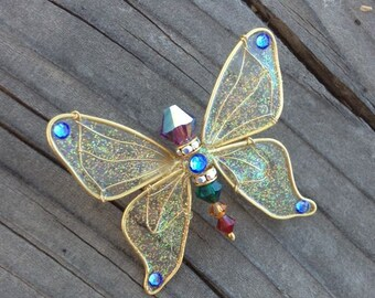 Butterfly Pin - Birthstones & 28 More Swarovski Colors