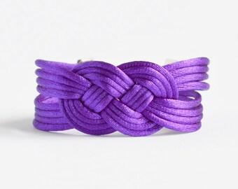 Shiny purple large double infinity knotted nautical rope bracelet