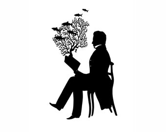 A Very Good Book Indeed Silhouette Print Nautical Reading Black and White Beach House Decor