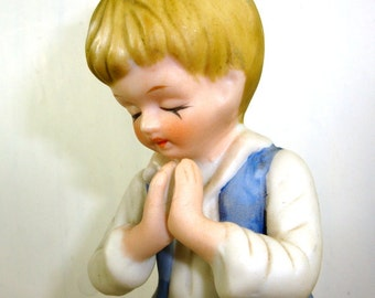 Vintage Figurine Praying Boy, Kneeling, Ceramic Bisque, Dressed In Blue, Religious  (612-14)