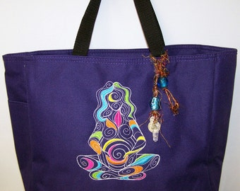 Mother Nature goddess purple tote bag with batik lining and crystal dangle