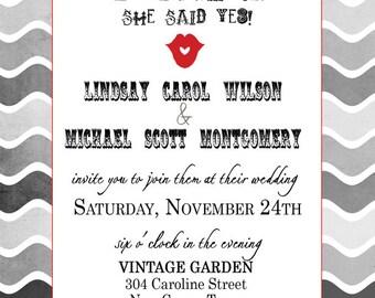 Wedding Invitations -  Mustache and Red Lipstick