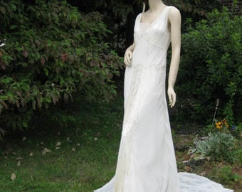 SALE Deco Beaded Silk Chiffon Bridal Gown on SALE Flapper Wedding dress Downton Abbey 1920's Wedding Gown Vintage Inspired