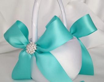 White and Aqua Blue Flower Girl Basket with Rhinestone Accents - Wedding