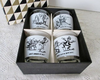 Cartoon Shot Glasses Frosted Glass Barware, Humorous Graphics Novelties by Anchor Hocking Glass, comical home bar mid century barware