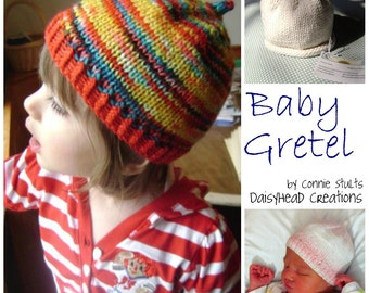 Knitting Hat Pattern- Stem Hat- Umbilical Hat- Newborn thru 3T- Baby Gretel Hat Pattern ONLY