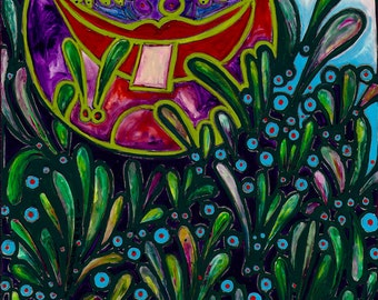 "Tip Toe Through The Bugs - 12""x12"" Art PRINT, peeking through the green grass, bugs hiding in the grass, wall art, art"
