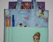 Crayon Tote Bag, Tote Bag, Crayon Holder, Disney, Princess Tiana, Princess & the Frog Crayon Bag, Ready to Ship