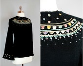 Black EMBROIDERED sweater / Embroidered FAIR ISLE sweater / Bell sleeve sweater