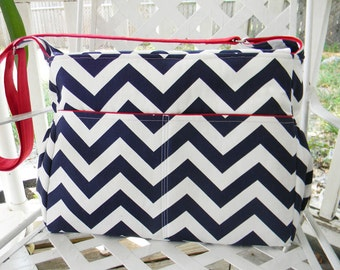 Navy Blue Chevron  Diaper Bag  with Top Zipper Closure and Adjustable Strap