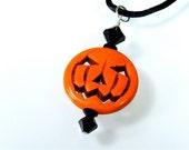"Swarovski Crystal Magnesite Orange Halloween Jack-O-Lantern Pendant  Sterling Silver 20"" Sateen Black Necklace Included"