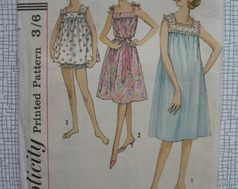 "1960s Shorty Nightgown & Panties sewing Pattern - 36"" Bust - Simplicity 4484"