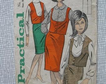 "1960s Skirt & Sleeveless Jacket - 36"" Bust - Practical 5649 Sewing Pattern"