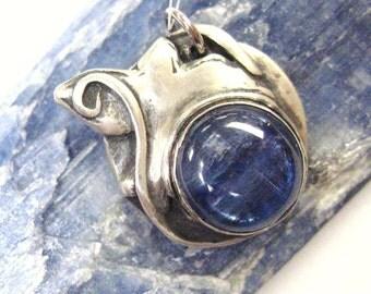 Eye of the Skies, symbolic blue kyanite bird totem, kyanite pendant, symbolic pendant, spiritual bird jewelry