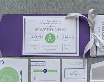 Purple and Silver Modern Pocket Wedding Invitation | Jaclyn & Richie