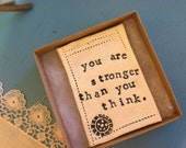 Single. You are stronger than you think quote tile magnet