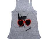 Cat Tank Top - Heart Sunglasses MEOW - Sleeveless Shirt - (Ladies Sizes S, M, L,)