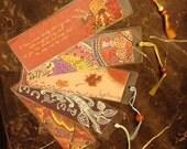 Set of 5 Handmade Bookmarks - Laminated Original Art Print Beaded Silk Tassel -- 2.25 x 7 inches -- DD-1