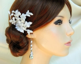 Bridal hair comb lace, wedding hair comb, Light ivory with silver color thread, hair accessories,rhinestone hair comb,crystal hair comb
