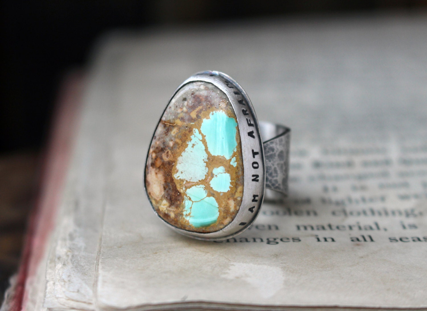 Natural royston turquoise ribbon boulder and sterling by for Royston ribbon turquoise jewelry
