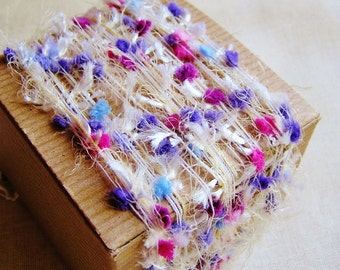 Peony, Blue, Lavender Tassel Pom Fringe Garland - wedding craft supply, scrapbook embellishment, specialty gift wrap, novelty trim- 5 yds
