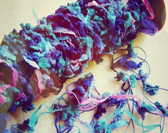 Violet Marine Blue Foliage Pom and Flag Garland- scrapbook trimming, fuzzy embellishment, novelty ribbon, gift wrapping supply- 5 yds