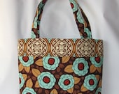 Tote Bag, Brown diaper bag, everyday Tote bag Bloom in Bark, Joel Dewberry fabric Bag, Women Bag, all purpose Bag, Ready To Ship,