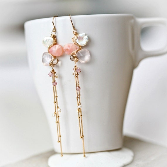 Pink Opal, White Keishi, Rose Quartz, and Smoky Quartz Long Cascading Gold Filled Earrings