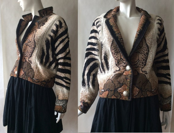 African safari blanket jacket, with zebra stripes, in shades of brown, black and cream, early 1990's, large / extra large
