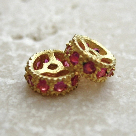24K Gold Vermeil Petite Rondelle Beads set with Pink Crystals 5.5mm - 2 pcs