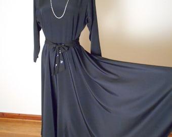 vintage SLEEK 80s Liz Claiborne Full Circle Skirt Dress - Cut Out Back - Jet Black- Medium / Large