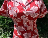 Sale Red deco fan cotton 1940s repro short sleeve blouse XS or M also avail in blue