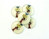 """5 Primitive Snowman Buttons.  Winter or Christmas Snowman Make Do Sewing Buttons.  3/4"""" or 20 mm."""