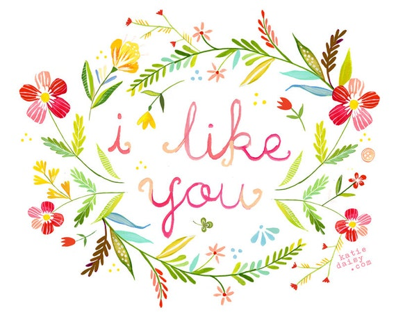 I like you art print watercolor quote hand lettered wall for Art sites like etsy