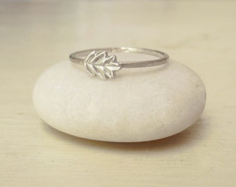 Tiny Oak Leaf Ring – Nature Inspired – Sterling and Fine Silver Ring – Stacking Ring