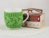 Spring Green Hand Knit Coffee Mug Cozy Cable