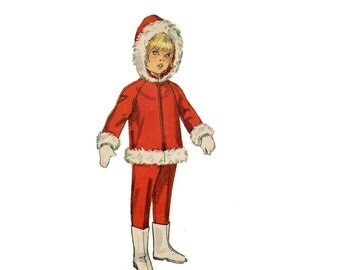 1960s Kids Hoodie and Pants Pattern Snow Suit Winter Clothes Hooded Jacket Tapered Pants Simplicity 8473 Size 4 Vintage Sewing Pattern