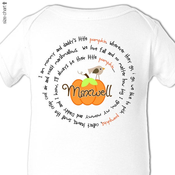 first thanksgiving bodysuit / t shirt mommy and daddy's little pumpkin bodysuit