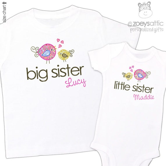 big sister shirt, little sister shirt - adorable whimsy bird matching sibling set for any big/little combination