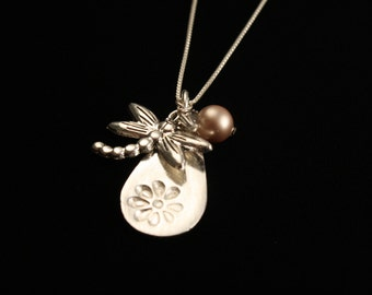Dragonfly Teardrop Cluster Necklace with a Flower - Fine Silver - Swarovski Pearl - Artisan Jewelry - ME Designs