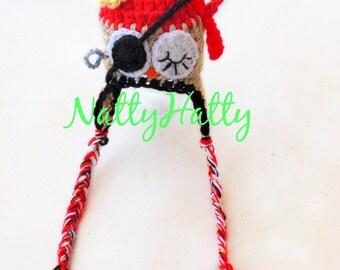 Pirate Newborn crochet owl hat, newborn  costume,baby pirate owl costume