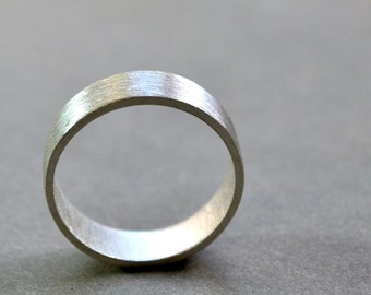 Men's Wedding Ring. Wide Flat Band. Modern Contemporary Simple Sleek Elegant Design. Sterling Silver. Jewellery. Jewelry.