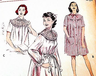 1950s Nightgown Pattern Womens Bed Jacket Pattern Long Flowing Peignoir Pattern Misses size 12 Vintage Sewing Pattern 50s