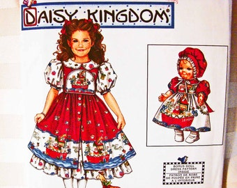 Daisy Kingdom Pattern size 3 4 5 6 UNCUT Party Dress for girls with 13 inch Doll Dress Pattern Simplicity Sewing Pattern