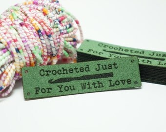 crocheted just for you labels with holes for easy attaching gift tag label