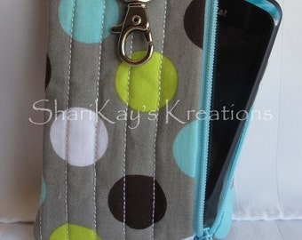 Fabric Small Cell Phone Case - Zippered Case - Cell Phone Pouch