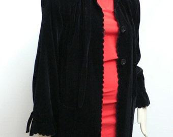 vintage 1940s 50s Victor Joris long black velvet coat / Hollywood 50s coat / 40s opera coat