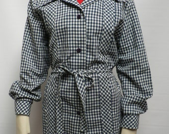vintage 1970s does 1940s blue white blouse jacket  /WWII swing era style jacket