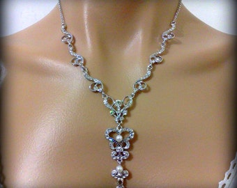 Statement Wedding Necklace, Crystal Bridal Necklace, Pearl Drop Wedding Jewelry, FLEUR De Lis Bridal Jewelry, Victorian Necklace Gift
